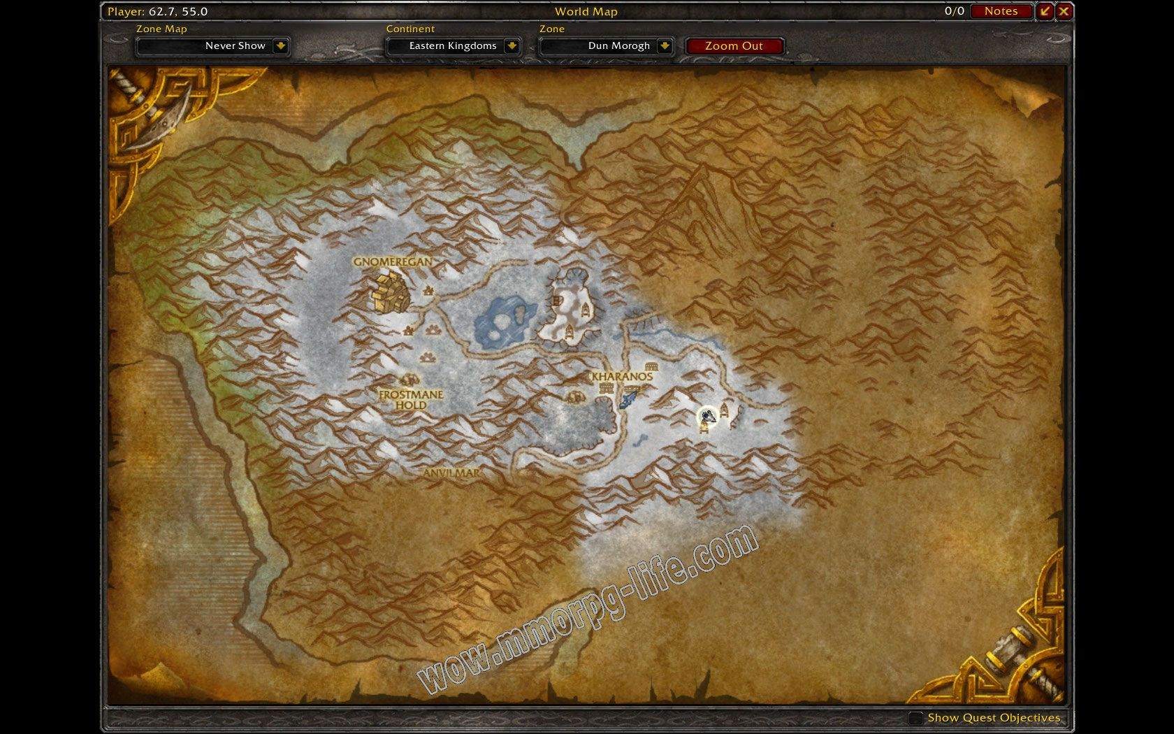 The View from Down Here   World of Warcraft Life Dun Morogh Map on